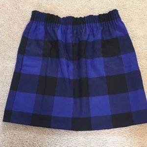 J Crew blue black buffalo check plaid skirt 6